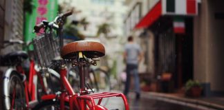 Fahrrad im Regen
