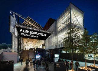 Moderner Glaspavillion des Digital-Campus Hammerbrooklyn