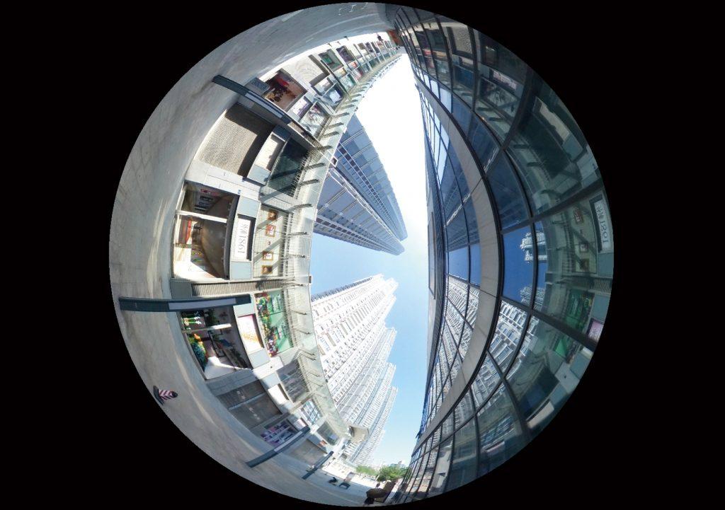 Ein Planet mit Gebäuden