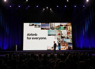 Airbnb-Gründer Brian Chesky hält einen Vortrag. Foto: Airbnb