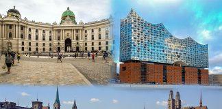 Die Hofburg in Wien, die Elbphilharmonie und Zürich.
