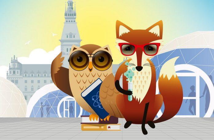 Eine Eule mit einem Buch und einer Brille und ein Fuchs mit einer Brille und einem Reagenzglas.