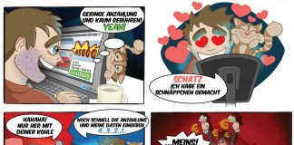 Comiczeichnungen der Polizei Hamburg zum Thema falsche Internetangebote