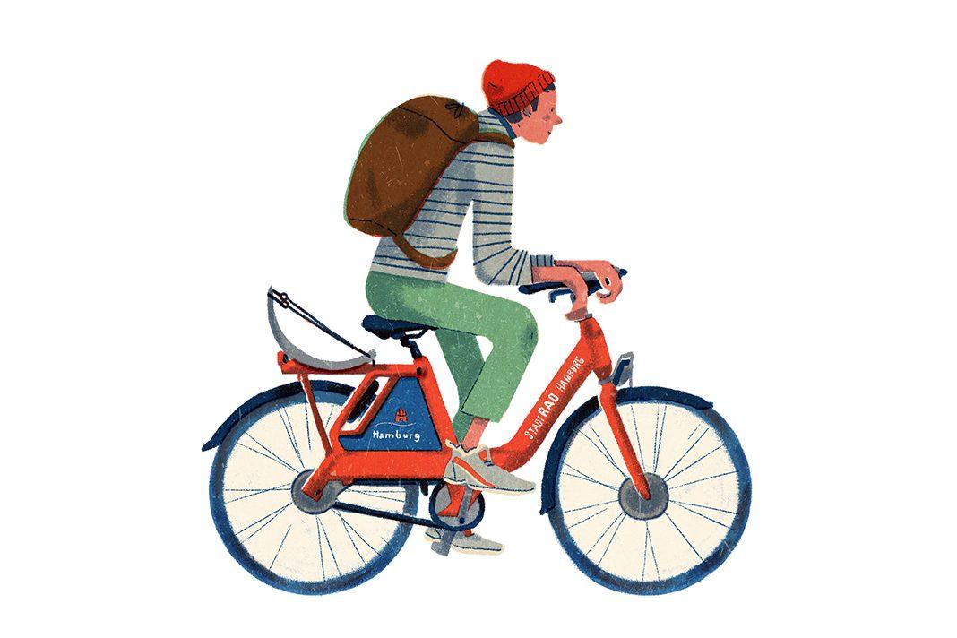 Illustration einer männlichen Person auf einem Stadtrad Hamburg.
