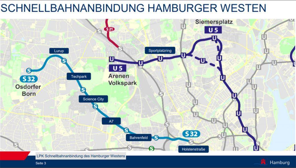 Streckenübersicht der neuen Linien U5 und S32