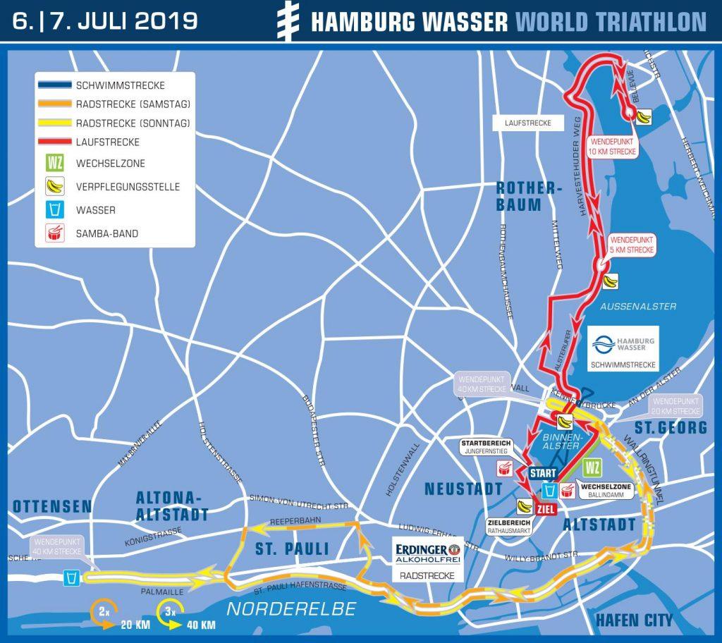 Die Strecke des Hamburger Triathlons 2019.