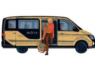 FINK.HAMBURG Reporter steigt aus einem MOIA - Illustration