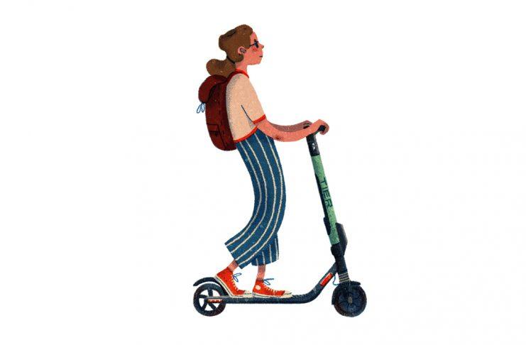 Mädchen mit Rucksack fährt mit einem Elektroroller von Tier. Illustration von Sarah J. Ejim