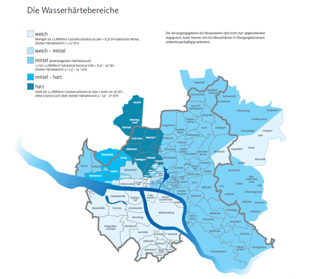 Karte mit eingezeichneten Härtebereichen des Trinkwassers in den unterschiedlichen Hamburger Stadtteilen.