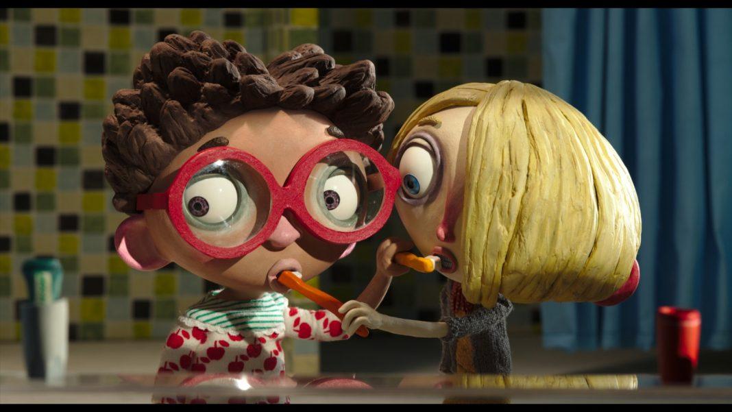 Zwei Mädchen putzen sich gegenseitig die Zähne. Standbild aus dem animationsfilm