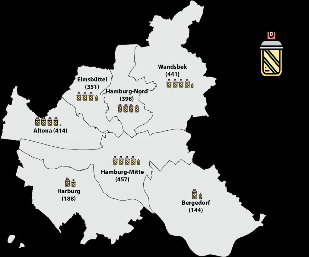 Hamburg-Karte mit den Bezirken und Graffiti-Fallzahlen von 2019.