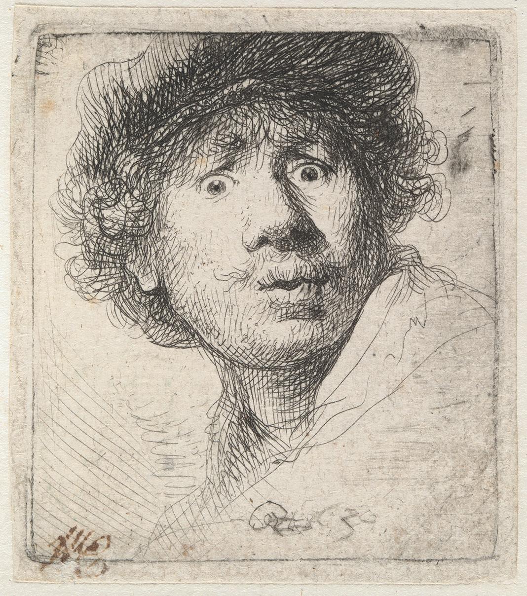 Rembrandt: Selbstbildnis mit Mütze, den Mund geöffnet.