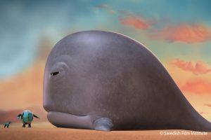 """Bild des Films """"Robot and the Whale"""". Ein kleiner Roboter steht vor einem Wal."""