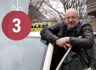 Taxifahrer Bernd Meyn schaut aus seinem Taxi heraus. Foto: Max Nölke