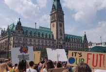 "Demonstrierende ""Fridays For Future""-Aktivisten vor dem Hamburger Rathaus."
