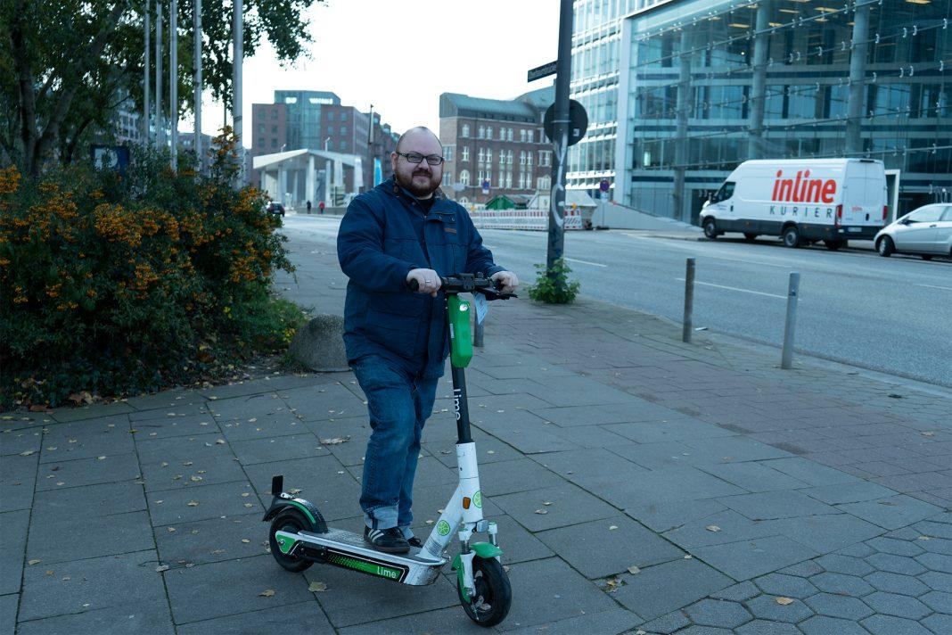 Christian Krakau-Louis on a scooter