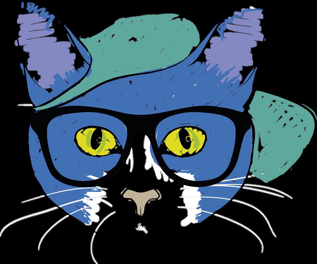 Zeichnung von Katze mit Cap und Brille.