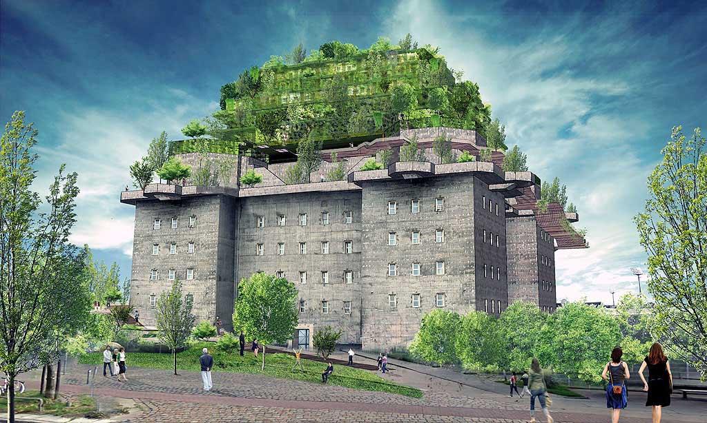 Der Bunker soll begrünt werden. So plant es das Beteiligungsprojekt Hilldegarden. Foto: Planungsbüro Bunker