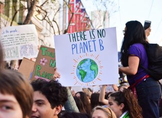 """Menschen in einer Menge halten Schilder hoch.. Auf einem steht: """"There is no Planet B"""""""