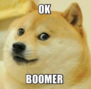 Schriftzug Ok Boomer mit Doge Meme als Hintergrund