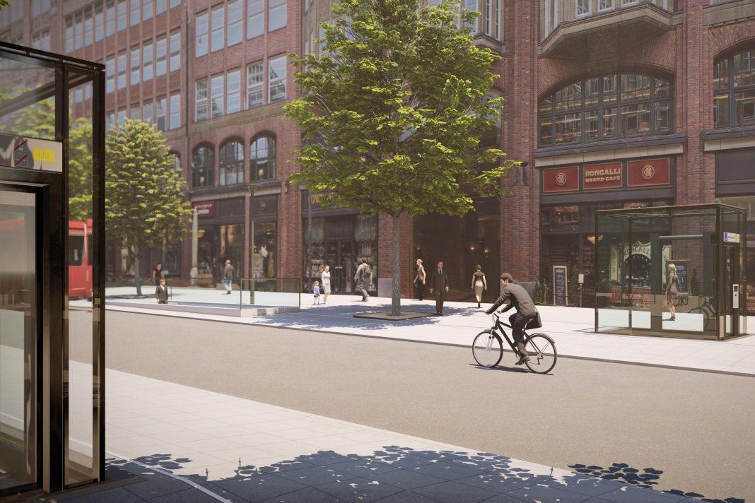 Visualisierung der geplanten Fahrstühle auf der Mönckebergstraße.