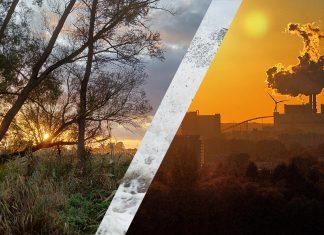 Links der Vollhöfner Wald. Rechts das Heizkraftwerk Moorburg. In der Mitte: Eine Sturmflutwelle