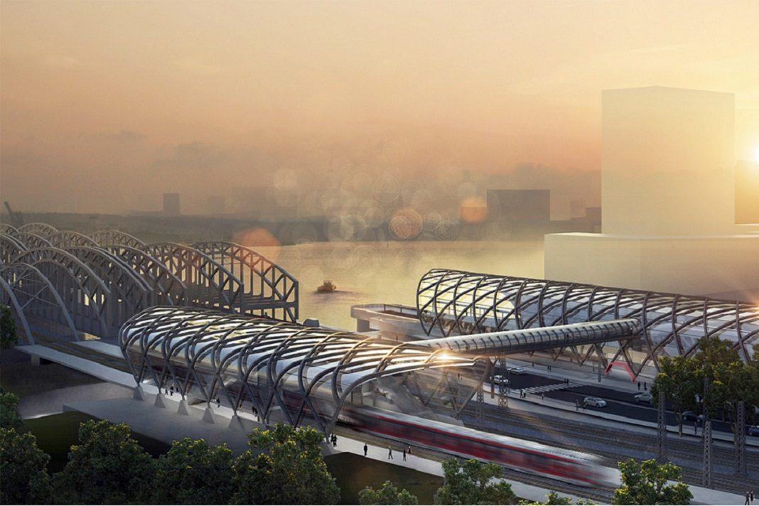 Hamburg Elbbrücken bekommt eine S-Bahn-Haltestelle. Ein Skywalk verbindet U- mit S-Bahn. Foto: gmp (Architekten Gerkan, Marg und Partner)