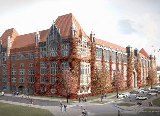 Bild des ehemaligen Fernmeldeamts in der Schlüterstraße. Hier soll der neue Campus der Uni Hamburg entstehen.