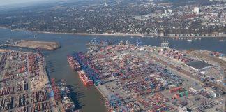 Luftansicht des Hamburger Hafens.