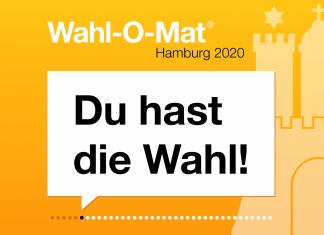Gelbes Logo zum Wahl-O-Mat Hamburg 2020 mit Aufschrift Du hast die Wahl!