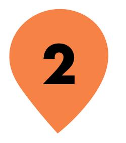 Zahl 2 in orangenem Kreis