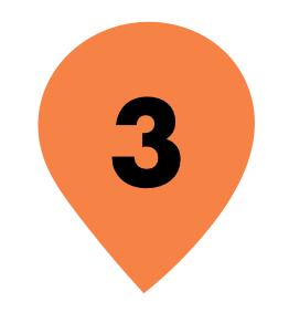 Zahl 3 in orangenem Kreis