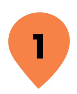 Zahl 1 in orangenem Kreis