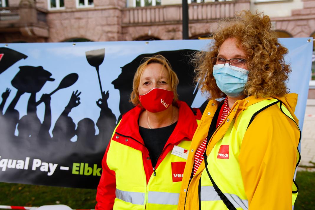 Elbkinder-Kita Streik: Dagmar Hegermann und Hilke Stein über den Warnstreik. Foto: Pia Röpke