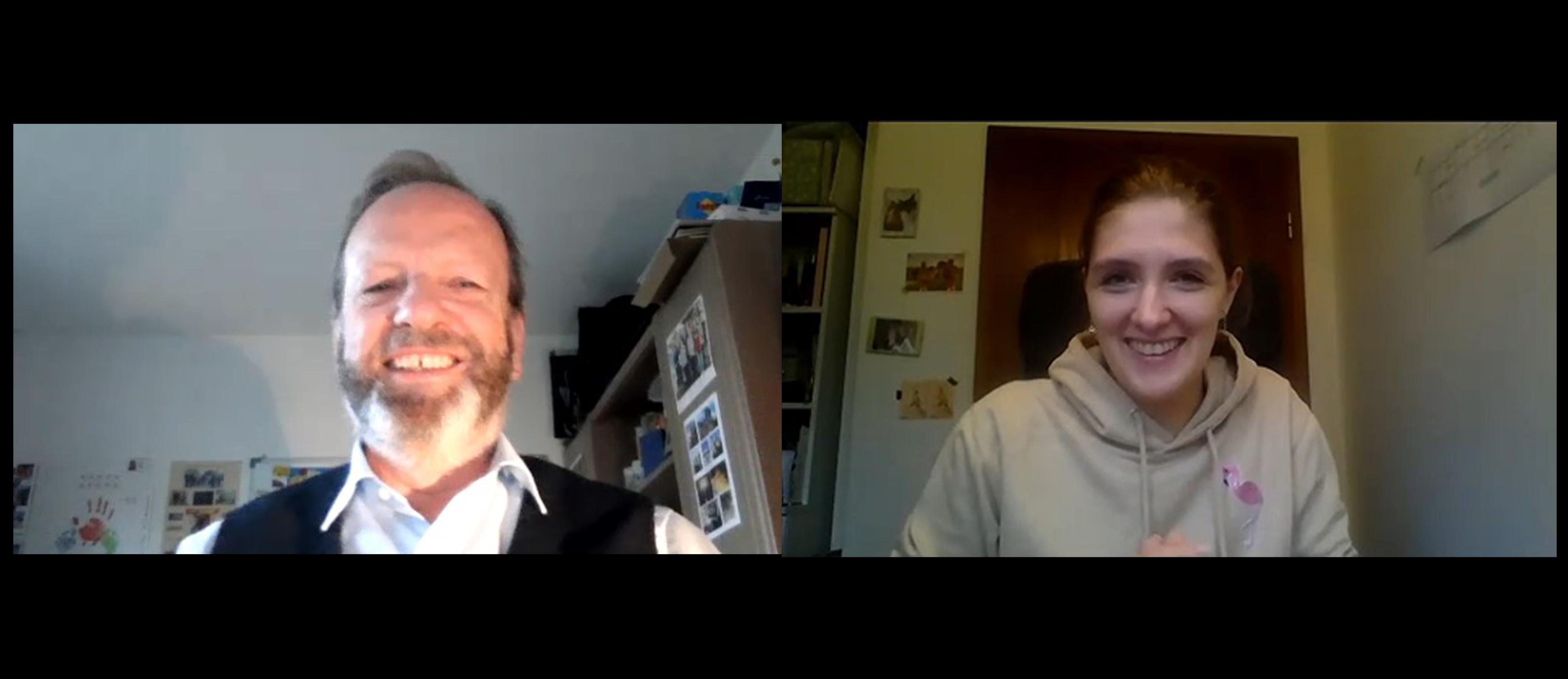 Fink Redakteurin Aniko im Videochat mit Prof. Maas