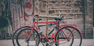 Zwei abgeschlossene Fahrräder an einem Baum