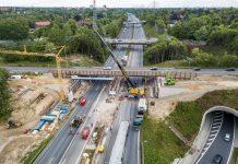 Baustelle an der A1. Die Brücken der B5 werden erneuert