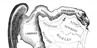 Dieses Bild zeigt eine Kariktur des ersten Wahlbezirks, in dem Gerrymandering angewendet wurde.