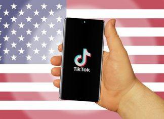 TikTok und die US-Wahl: Die App vor der amerikanischen Flagge.