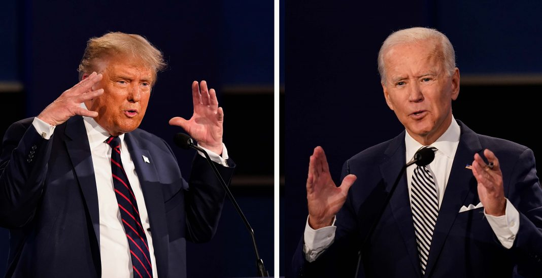 Donald Trump und Joe Biden im Wahlkampf. Foto: Patrick Semansky/AP/dpa