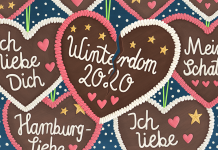 Gebrochenes Winterdom-Lebkuchenherz, Illustration: Ruby Warnecke