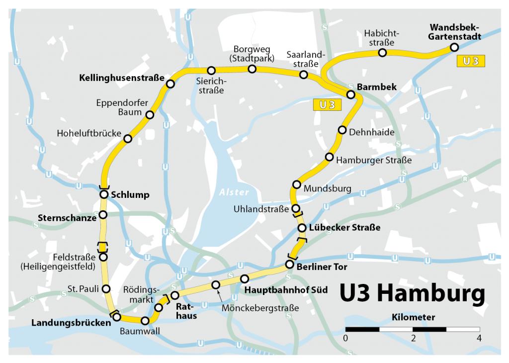 Plan der U3 in Hamburg