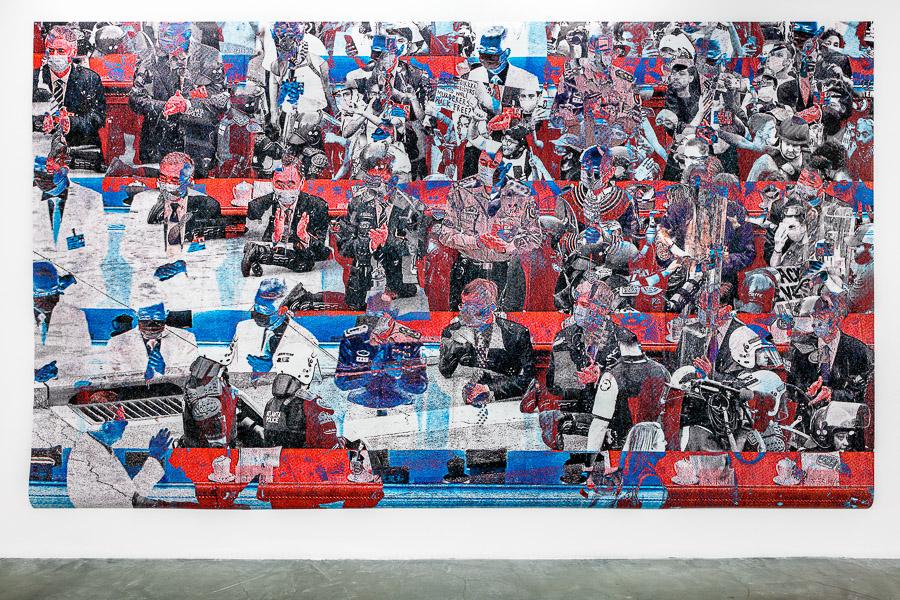 """Katharina Sieverding: """"Gefechtspause II"""", 2020. Installationsansicht der Ausstellung:""""Katharina Sieverding. Fotografien, Projektionen, Installationen. 2020-1966"""" in der Sammlung Falckenberg. ©"""