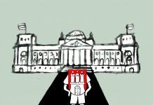 Abgeordnete auf dem Weg zum Bundestag