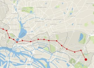 Die Strecke der U2 durch Hamburgs verschiedene Stadtteile