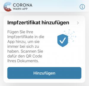 """Die Impfung gegen das Coronavirus lässt sich auch in der """"Corona-Warn-App"""" hinterlegen. Foto: Chantal Seiter"""