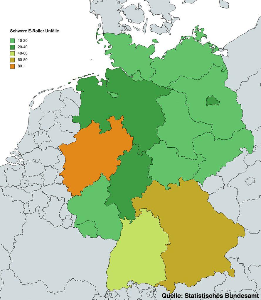 Schwere E-Roller Unfälle nach Bundesland