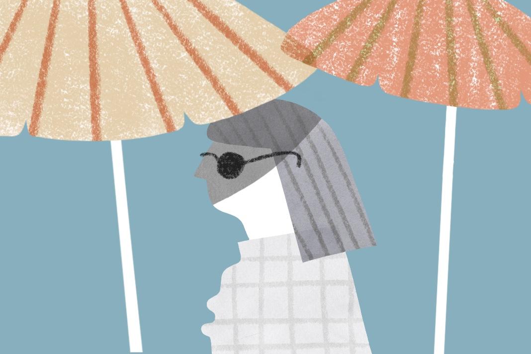 Illustration Frau unter Sonnenschirm, Corona-Lockerungen