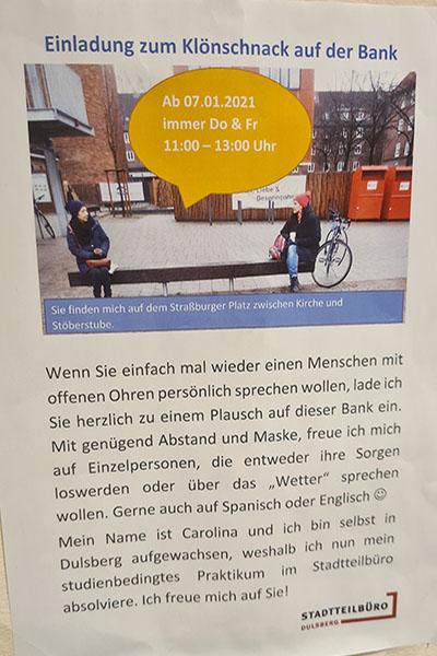 """Ein Flyer für die Aktion """"Klönschnackbank"""" in Dulsberg"""