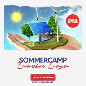 Anzeige Sommercamp Erneuerbare Energien: Hand mit Natur und Windrändern